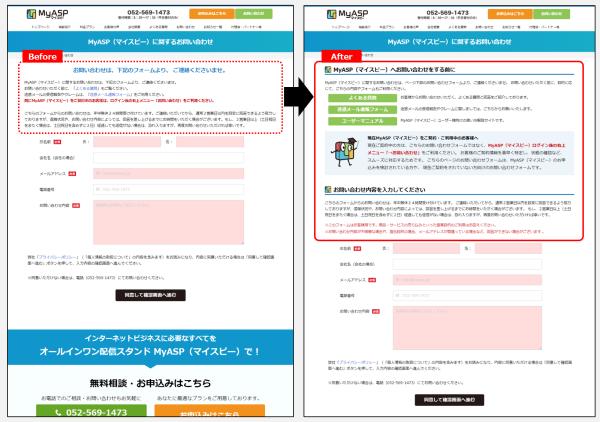 お問い合わせページBefore/After